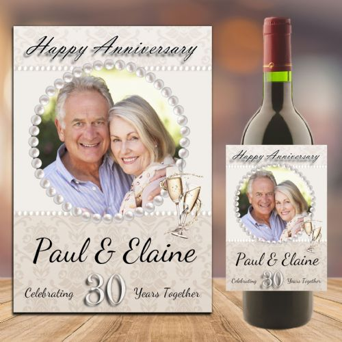 Personalised Pearl 30th Wedding Anniversary PHOTO Wine / Champagne Bottle Label N91